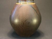 Vase Mooreiche mit vergoldetem Rand b